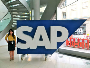 Photo of Jessica Pearson with SAP sign