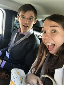 Photo of Nate and Sarah in a car